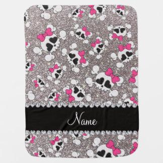 Custom name glitter silver skulls pink bows baby blanket