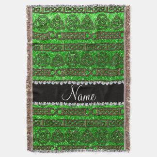 Custom name gold celtic lime green glitter throw blanket