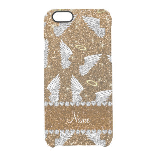 Custom name gold glitter angel wings uncommon clearly™ deflector iPhone 6 case