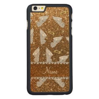 Custom name gold glitter angel wings carved® maple iPhone 6 plus slim case