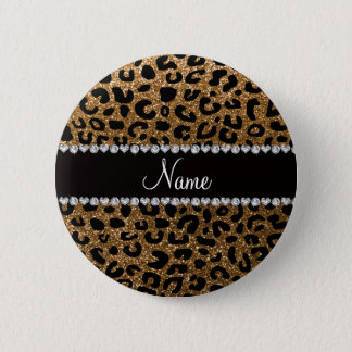 Custom name gold glitter cheetah print 2 inch round button