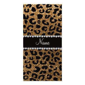 Custom name gold glitter cheetah print photo greeting card