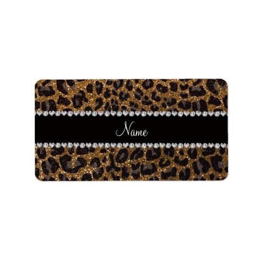 Custom name gold glitter leopard print
