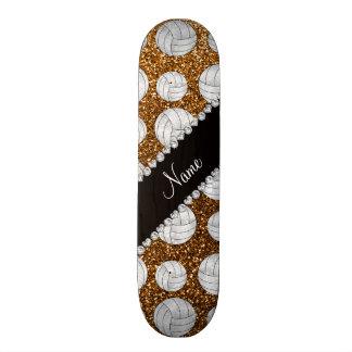 Custom name gold glitter volleyballs custom skate board