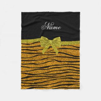 Custom name gold glitter zebra stripes name fleece blanket