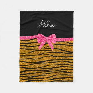 Custom name gold glitter zebra stripes pink bow fleece blanket