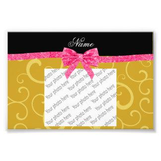Custom name gold swirls pink glitter bow photo print