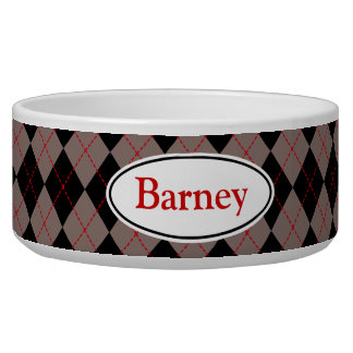 Custom Name Gray Argyle Dog Cat Pet Bowl