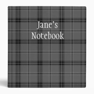 Custom Name Gray & Black Plaid/Tartan Binder