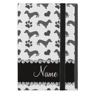 Custom name gray dachshunds hearts paws case for iPad mini