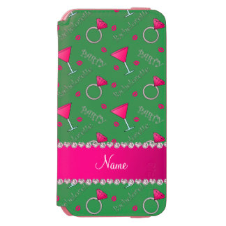 Custom name green bachelorette cocktails rings incipio watson™ iPhone 6 wallet case