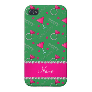 Custom name green bachelorette cocktails rings covers for iPhone 4