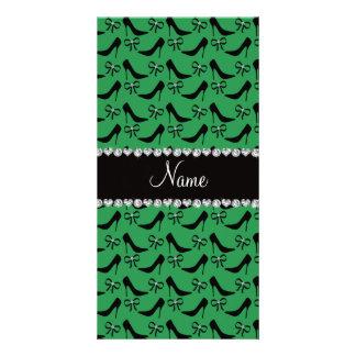 Custom name green black high heels bow diamond photo card