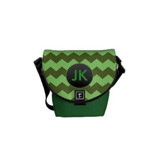 Custom Name Green Chevron Monogrammed Small Bag Commuter Bag