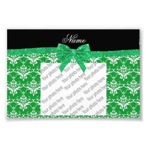 Custom name green damask glitter bow photo print