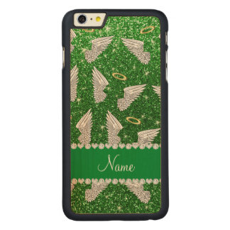 Custom name green glitter angel wings carved® maple iPhone 6 plus slim case