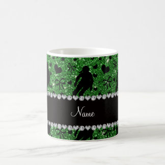 Custom name green glitter roller derby coffee mug
