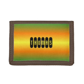 Custom name green orange gradient trifold wallets