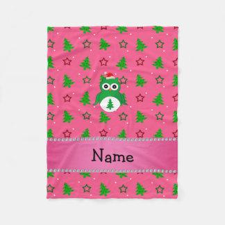 Custom name green santa owl pink christmas trees fleece blanket