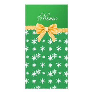 Custom name green snowflakes gold bow customized photo card
