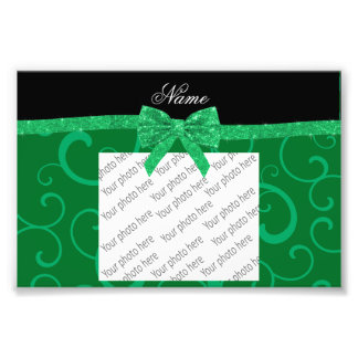 Custom name green swirls glitter bow art photo