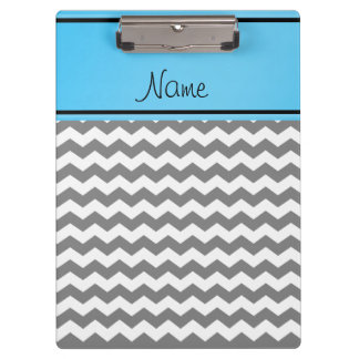 Custom name grey chevrons blue stripe clipboard