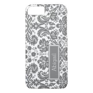 Custom Name Grey Damask Pattern iPhone 7 Case