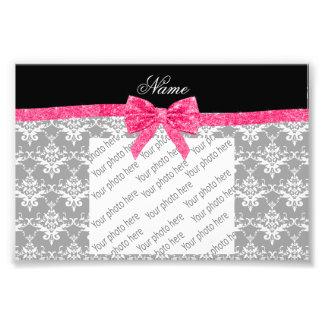 Custom name grey damask pink glitter bow photo art