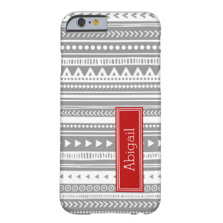 Custom Name Grey Red Tribal Vintage Pattern Barely There iPhone 6 Case