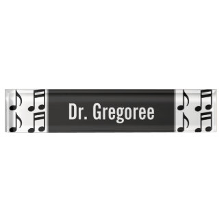 Custom Name + Grid of Musical Notes Desk Nameplate