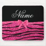 Custom name hot pink glitter zebra stripes bow