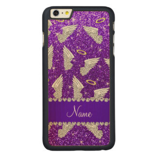 Custom name indigo purple glitter angel wings carved® maple iPhone 6 plus slim case