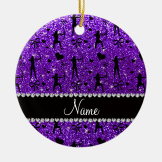 Custom name indigo purple glitter archery ceramic ornament