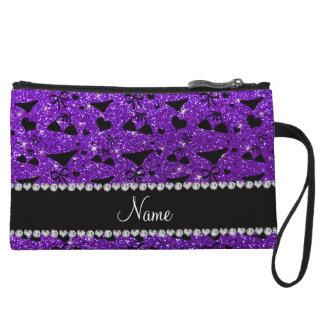 Custom name indigo purple glitter bikini bows wristlet purses