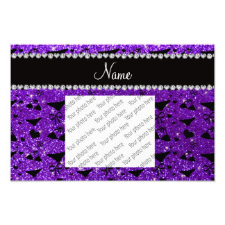 Custom name indigo purple glitter bikini bows photo art