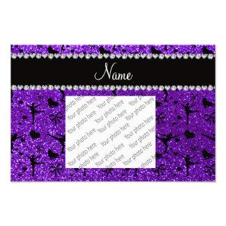 Custom name indigo purple glitter figure skating photo print