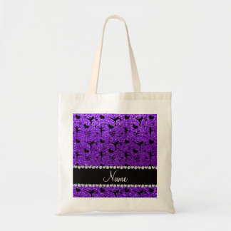 Custom name indigo purple glitter figure skating tote bag