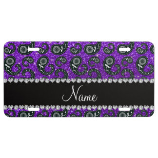 Custom name indigo purple glitter paisley license plate