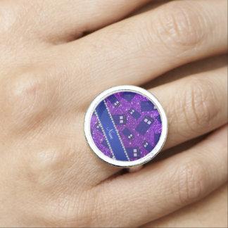 Custom name indigo purple glitter police box photo ring