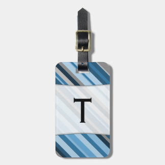 Custom Name Initial + Blue and Grey Stripes Luggage Tag