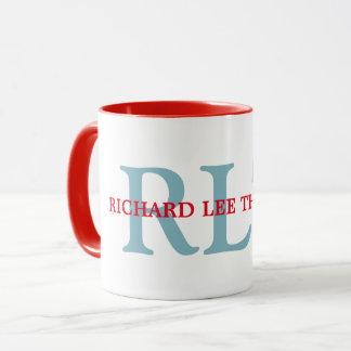 custom name + initials personalized monogram red mug
