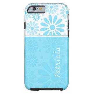 Custom Name iPhone 6 case - Blue Floral Pattern Tough iPhone 6 Case