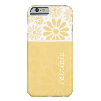 Custom Name iPhone 6 case - Yellow Floral Pattern Barely There iPhone 6 Case