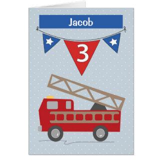 Custom Name Jacob 3rd Birthday Firetruck Card