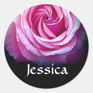 CUSTOM NAME - Jessica PINK Rose Sticker