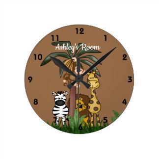 Custom Name Jungle Safari Round Clock