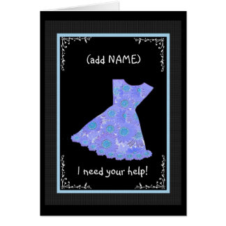 CUSTOM NAME Junior Bridesmaid PERWINKLE BLUE Dress Card