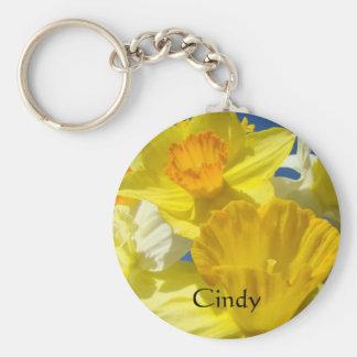 Custom Name keychain Yellow Daffodil Flowers