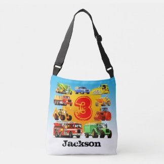 Custom Name Kid's 3rd Birthday Construction Truck Crossbody Bag