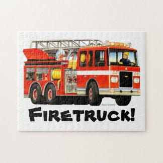 Custom Name Kid's Fire Truck Jigsaw Puzzle